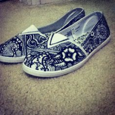 get white shoes and draw on them with sharpie! Maybe let your friends write stuff on them in different colors!