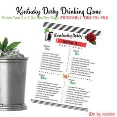 Kentucky Derby - Drinking Game - Derby Drinking Game - Drink If - KY Derby - Printable - Instant Download