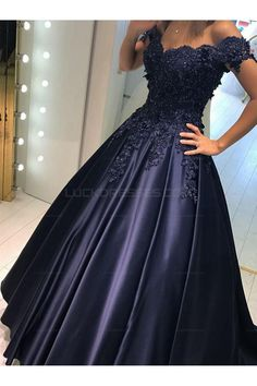 Elegant Long Blue Off-the-Shoulder Beaded Lace Prom Evening Dresses 3020600