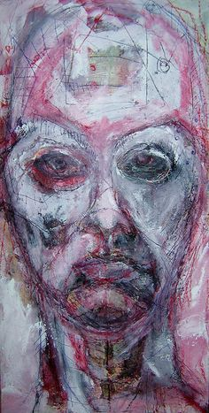 Shifting Gears - mixed media on a 15 by 30 inch canvas by Kat Ostrow