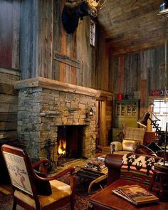 Future lodge home. Fireplace and rustic barn wood walls Cabin Homes, Log Homes, Rustic Fireplaces, Wall Fireplaces, Indoor Fireplaces, Reclaimed Wood Fireplace, Fireplace Design, Fireplace Stone, Fireplace Ideas