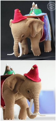 In this article I will share a wonderful amigurumi pattern again. You can enjoy this beautiful amigurumi elephant free english pattern.  Materials  Yarn Pekhorka children's novelty,  1 skein of the main color, half  skein of a different color  Hook 1.5-1.75  Filler  Long needle  Plastic joint or cotter pin  Plastic eyes d = 13mm, with  you can use  baked plastic for protein  Artificial cilia, button  1.5 mm wire for neck  no joint or cotter pin Crochet Food, Free Crochet, Crochet Baby, Elephant Pattern, Amigurumi Toys, Crochet Animals, Main Colors, Free Pattern, Dinosaur Stuffed Animal