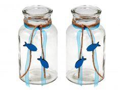2 Vasen ISAAK Petrol Blau Fisch Vintage Kommunion Konfirmation