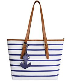 Coofit Stripes Shoulder bag Womens Handbag PU Leather Purse with Sea Anchor Pendant Blue&White - http://leather-handbags-shop.com/coofit-stripes-shoulder-bag-womens-handbag-pu-leather-purse-with-sea-anchor-pendant-bluewhite/