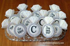 Engagement Ring - Wedding Ring - Diamond Ring Wedding Shower -- 12 Rolled Sugar Cookies