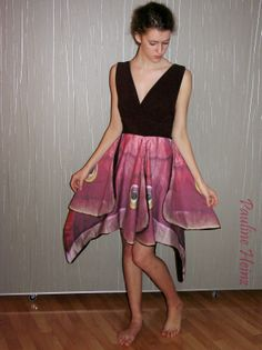 Moth dress sewn by Pauline, fabric from spoonflower