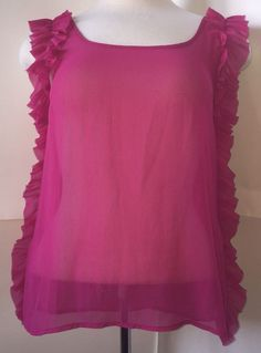 New TINI Lili Hot Pink Sheer Blouse Shirt Small Ruffle Sleeve Trim Francesca'S | eBay