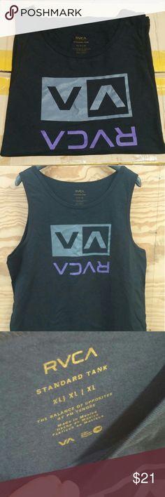 RVCA Mens VA Sport Independence Tank Top Gray//Black//Blue