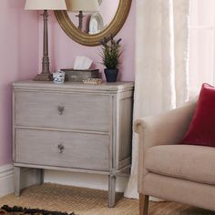 Rocca Painted Wood Chest of Drawers, Small - Grey