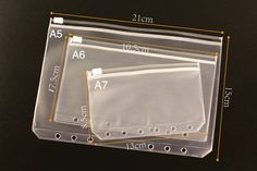 Standard Six Holes Transparent frosted Bag For A5 or A6 --A5 or A6 Planner Notebook Bags Divider by GinkoSupplies on Etsy