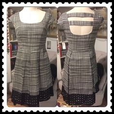 "THE CONVERSATION DRESS! NINE WEST ~ NWT ABSOLUTELY ADORABLE & CLASSY Pleated Black & White Open Back Cap Sleeves Dress ~ Pockets ~ Eyelet Bottom ~ Lined ~ Side Zipper ~ Approx 37"" long ~ Cotton/Polyester/Elastane Blend ~ Dress up or Down  #2252  Trades or Holds ✅ Use offer option ❤️ Bundles Nine West Dresses"