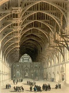 Westminster Hall and its hammerbeam roof, pictured in the early 19th century.  English Gothic.