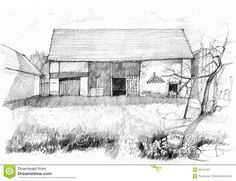 Barn Sketches | Sketch of an old barn. Scan of pencil drawing.