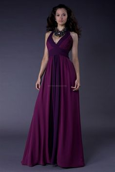 suitingdresses.com Offers High Quality Eggplant Chiffon V-Neck Halter Shirred Bridesmaid Dress,Priced At Only USD USD $128.00 (Free Shipping)