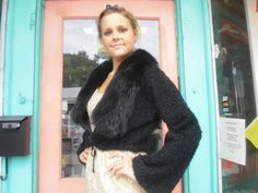 Vintage Fur Trimmed 1950s Wool Boucle Jacket Waist Length Draw String Closure 38 Bust $90.00