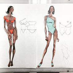Anne Klein Design Studio- Anne Klein Swimwear Design Sketch 1993