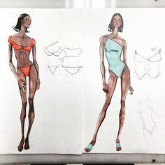 Anne Klein Design Studio- Anne Klein Swimwear Design Sketch 1993