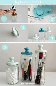más y más manualidades: Recicla y decora frascos de vidrio con agarraderas de cajón