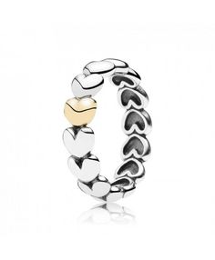 Pandora Filled With Love Heart Silver And Gold Ring 190898 Sale UK