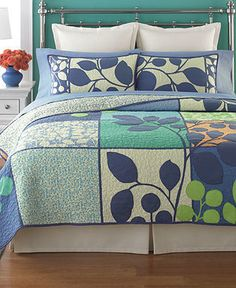 Martha Stewart Tiled Vines Standard Sham on - home and bedding (navy bedroom decor)