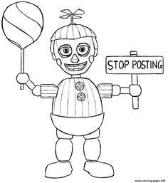 Balloon Boy Phantom Five Nights At Freddys Fnaf Coloring Pages Printable And Book To Print For Free Find More Online Kids