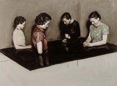 "Michaël Borremans ~ ""Four Fairies"" (2003) Oil on canvas 110 x 150 cm"