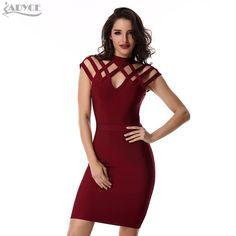 Adyce runway winter dress mulheres evening bandage dress 2017 vinho Grade Red cut out manga curta mini Sexy Celebridade vestido de Festa vestidos