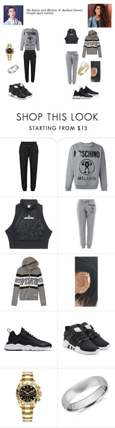 """""""Exo's Sehun and VIBE$'s Harleym"""" by ygentertaiment on Polyvore featuring Moschino, adidas, Victoria's Secret, NIKE, adidas Originals, Rolex, Blue Nile and Cartier"""