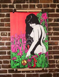 1969 Burden of Life Woodstock Era Psychedelic Blacklight Poster