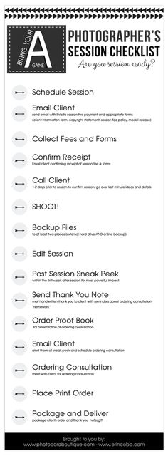 Free Photographers Workflow Checklist!