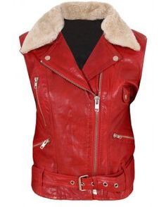 Delectable Women's Red Fur Leather Vest