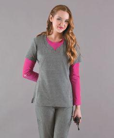 NEW! Smitten's KNOCKOUT Tunic in HEATHER GREY! #smitten #scrubs #medical #fashion #uniforms #health #healthcare #hospital #doctor #nurse #nursing #school #student #dental #hygiene #vet #tech #rn #lpn #cna #fall #heather #grey #print