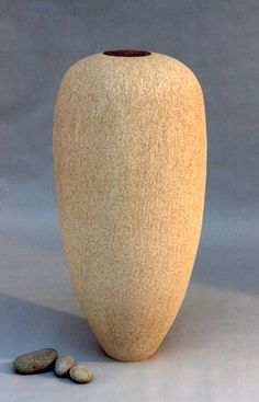 Ceramics by Christine-Ann Richards at Studiopottery.co.uk - Buff Form with Copper Disc 92cms £2,200