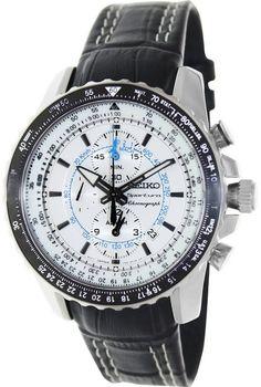 Montre Seiko Sportura SNAF01P1 chronographe avec bracelet cuir noir et boîtier acier, fonction date et chronomètre.