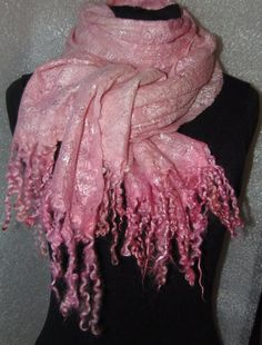 SALE. Felted Scarf Wool Silk Art  lightpink Hand by WoolFeltArt, $49.00