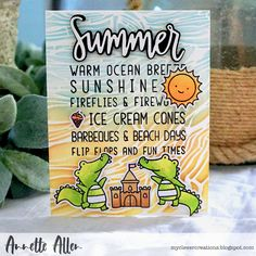 Happy Wednesday everyone. today the sun is shining bright and well that got me into the mood of summer crafting. Neat And Tangled, Copic Sketch Markers, Birthday Cards For Men, Ocean Themes, Hello Summer, Piece Of Cakes, Simon Says Stamp, Beach Day, Tropical