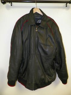MEN'S ROCAWEAR BLACK LEATHER JACKET WITH RED TRIM SIZE 2X ZIP FRONT GOOD USED #ROCAWEAR #ZIPFRONT