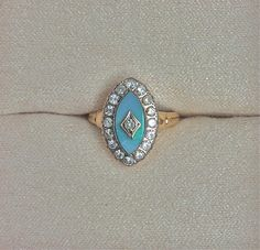 Antique Navette Opal and Diamond Halo Engagement by OldTimeSparkle, $900.00