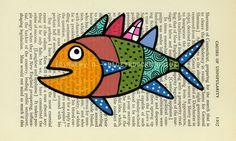 fish folk art painting...blueyeduckstudios (etsy)