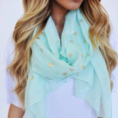 Mint polka dotted gold scarf