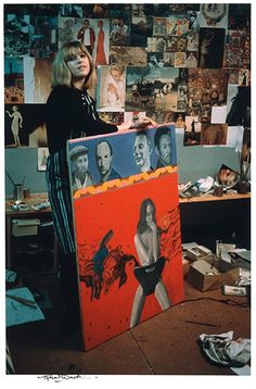 Pauline Boty: Pauline Boty with one oof her now missing paintings called Scandal '63