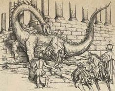century depiction of Roman soldiers taking down a dragon (dinosaur). Dinosaur History, Dinosaur Art, Ancient Mysteries, Ancient Artifacts, Ancient Aliens, Ancient History, Dinosaurs Live, Monuments, Gods Creation