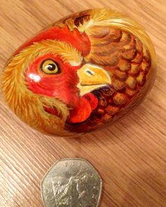 """""""Hand painted rock chicken sitting on eggs by Cobblecreatures . Pebble Painting, Pebble Art, Stone Painting, Rock Painting, Easter Paintings, Animal Paintings, Hand Painted Rocks, Painted Stones, Cast The First Stone"""