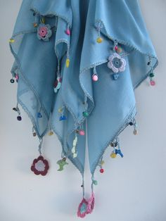 Easter gift................ / Blue scarf made by bead and lace handiwork on edge/ Authentic scarf on Etsy, $20.00