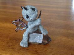 OOAK Polymer clay handmade Baby Dragon on smokey Quartz crystal miniature figure