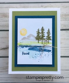 Learn how to create a simple friend card using Stampin Up Waterfront - Mary Fish StampinUp