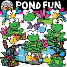 Pond Fun Clipart {Spring Clipart} is perfect for customizing all of your Classroom Resources. Images have been provided in color and bw in 300 dpi. Click on the link to view this set and more in my Teachers Pay Teachers shop- Creating4 the Classroom #Clip