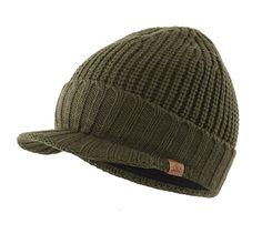 b25553b11c5 Men s Outdoor Beanie Winter Warm Thick Knit Visor Cap