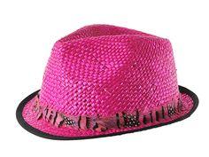 Ésta temporada no podrás pasar sin éste fantástico sombrero de estilo borsalino de ala corta. Está fabricado en rafia y lleva un cinta alrededor de originales plumas. ¡Llévatelo en fucsia!