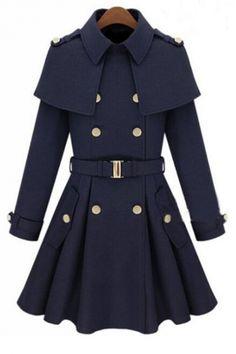 Chic Lapel Double Breasted Belt Waist Patchwork Plain Tunic Coat